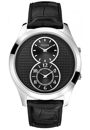 GUESS GUESS Men's Dual Time Black Leather Strap Watch 44mm