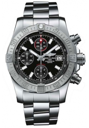 BREITLING Avenger II Black Dial Chronograph Stainless Steel Automatic Mens Watch 43mm