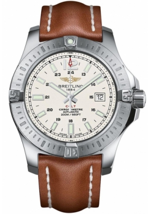 Breitling Colt 44mm Silver Dial Light Brown Leather Strap