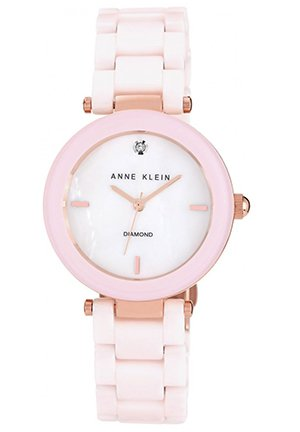 Anne Klein Watch, Women's Diamond Accent Light Pink Ceramic Bracelet 33mm