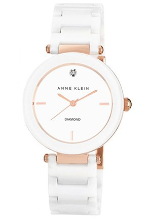 Anne Klein Watch, Women's Diamond Accent White Ceramic Bracelet 33mm