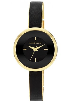 Anne Klein Watch, Women's Black Leather and Gold-Tone Bracelet 31mm