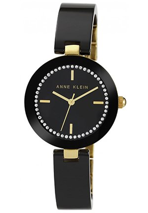 Anne Klein Women's Black Ceramic Bangle Bracelet Watch 31mm