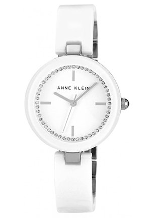 Anne Klein Watch, Women's White Ceramic Bangle Bracelet 31mm