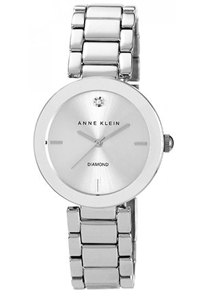 Anne Klein Watch, Women's Diamond Accent Silver-Tone Bracelet 32mm