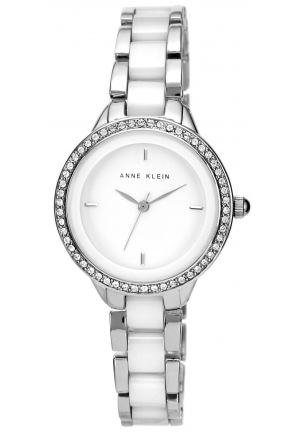 Anne Klein Watch, Women's White Ceramic and Silver-Tone Bracelet 34mm