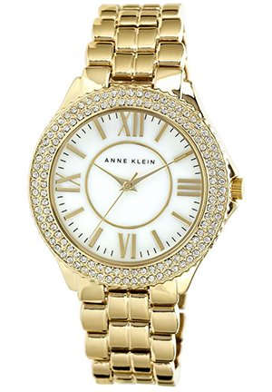 Anne Klein Women's Gold-Tone Adjustable Bracelet Watch 38mm