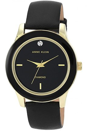 Women's Diamond Accent Black Leather Strap Watch 42mm