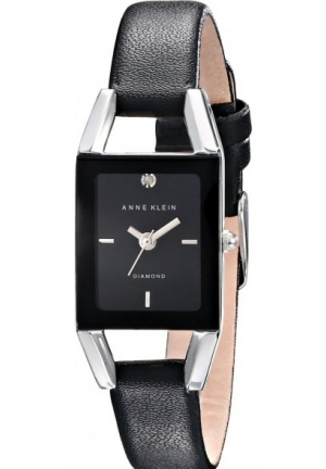 Anne Klein Women's Diamond-Accented Dial Black Leather Strap Watch