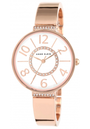 Anne Klein Women's Rose Gold-Tone Bangle Bracelet Watch 34mm