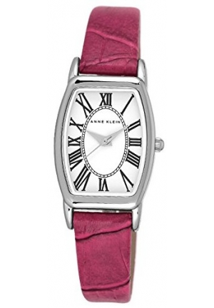 Anne Klein Women's  Silver Tone Tonneau Shaped Watch with Pink Leather Strap