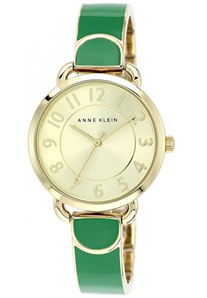 Anne Klein Women's Green and Gold-Tone Bangle Bracelet Watch 32mm