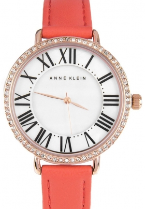 Anne Klein Quartz Orange Dress Ladies Crystallized Watch