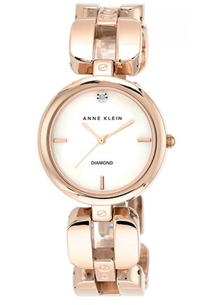 Women's Diamond Accent Rose Gold-Tone Link Bracelet Watch 34mm