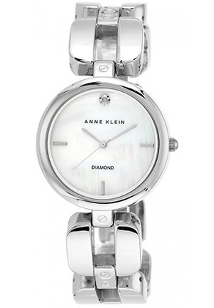 Women's Diamond Accent Silver-Tone Link Bracelet Watch 34mm