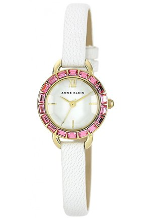 Women's White Leather Strap Watch 24mm