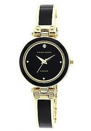ANNE KLEIN BLACK BANGLE WATCH W/DIAMOND 28MM