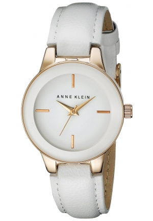 Anne Klein Women's White Leather Strap Watch