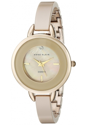 Anne Klein Women's Diamond-Accented Tan Ceramic Bangle Watch