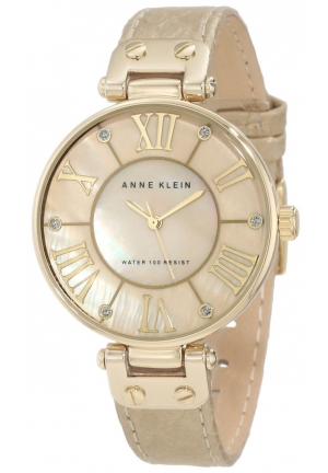 Anne Klein Women's Leather Gold-Tone Snake Print Watch