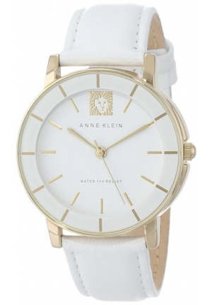 Anne Klein Women's Leather Gold-Tone White Watch