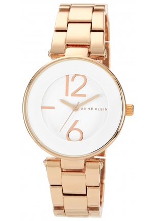 Anne Klein Women's  White Dial Rose Gold Tone Bracelet Watch