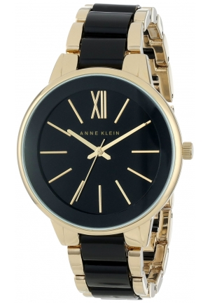 Anne Klein Women's Gold-Tone and Black Dress Watch