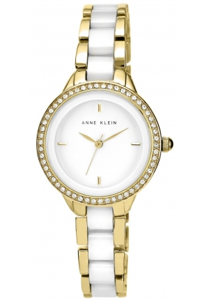 Anne Klein Women's White Ceramic and Gold-Tone Bracelet Watch 34mm