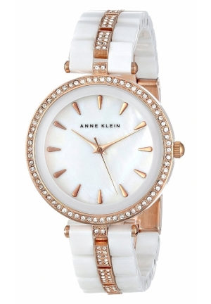 Anne Klein Women's Swarovski Crystal-Accented Rose Gold-Tone and White Ceramic Bracelet Watch