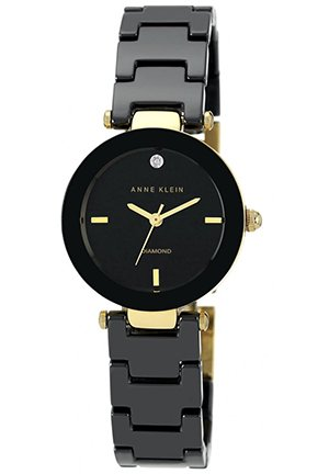 Anne Klein Women's Diamond Accent Black Ceramic Watch 28mm