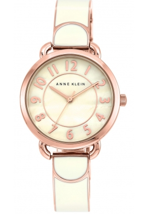 Anne Klein Women's Ivory-Colored Rose Gold-Tone Bangle Bracelet Watch 32mm