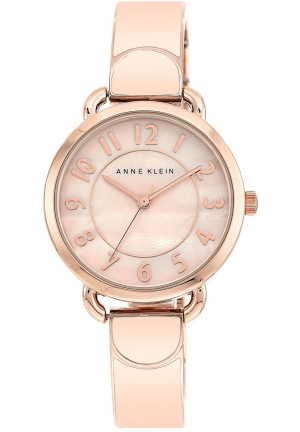 Anne Klein Women's Blush and Rose Gold-Tone Bangle Bracelet Watch 32mm