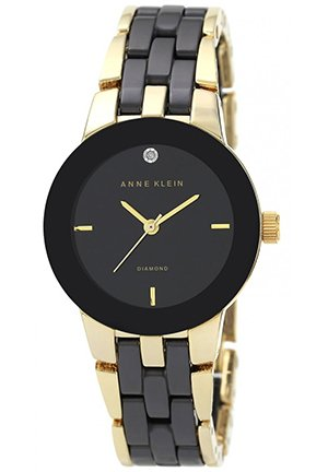 Anne Klein Women's Diamond Accent Black Ceramic and Gold-Tone Bracelet Watch 30mm