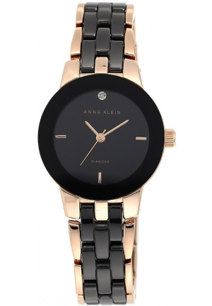 Anne Klein Women's  Diamond-Accented Rose Gold-Tone and Black Ceramic Bracelet Watch
