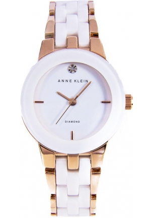 Anne Klein Women's  Diamond Dial Rose Gold-Tone and White Ceramic Bracelet Watch