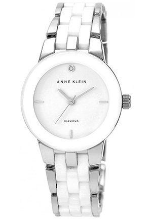 Women's Diamond Accent White Ceramic and Silver-Tone Bracelet Watch 30mm