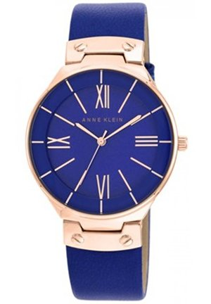 Anne Klein Women's Blue Leather Strap Watch 39mm