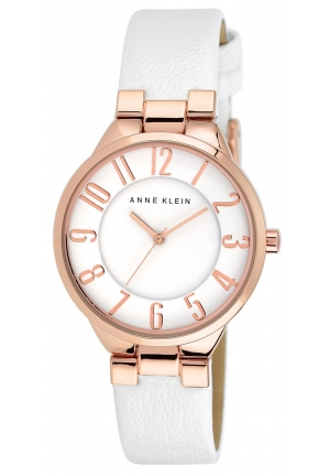 Anne Klein Watch Rose Gold White Leather for Women