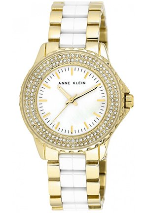 Anne Klein Women's White Ceramic and Gold-Tone Bracelet Watch 36mm