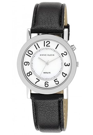 Women's Black Leather Strap Watch 34mm