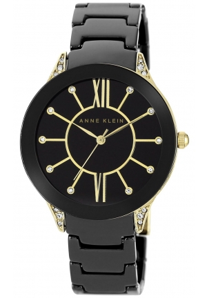 Anne Klein Women's Black Ceramic Bracelet Watch 36mm