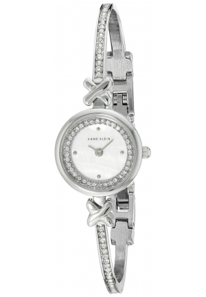Anne Klein Women's  Swarovski Crystal-Accented Silver-Tone Bangle Watch