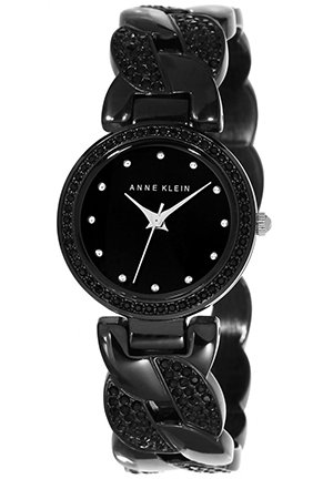 Anne Klein Women's Black Crystal Bracelet Watch 26mm