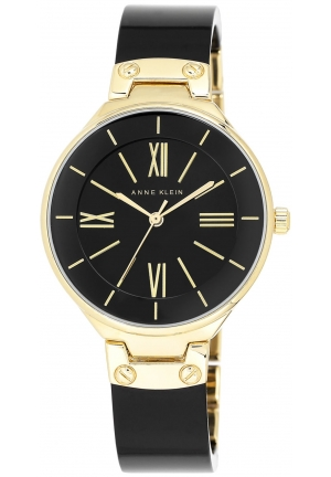 Anne Klein Women's Gold-Tone and Black Resin Bangle Watch