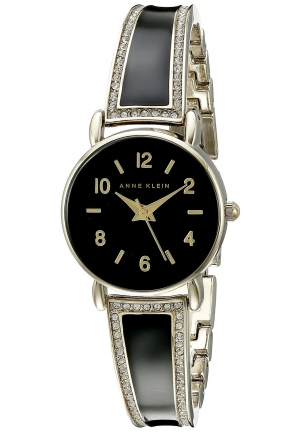 Anne Klein Women's Swarovski Crystal Accented Gold-Tone and Black Bangle Watch with Bracelet Set