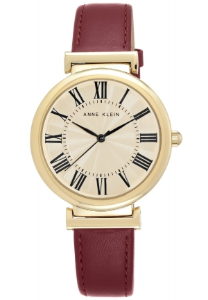 Anne Klein Women's  Gold-Tone and Burgundy Leather Strap Watch