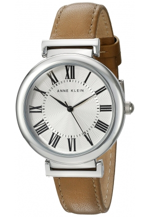 Anne Klein Women's  Silver-Tone and Dark Tan Leather Strap Watch