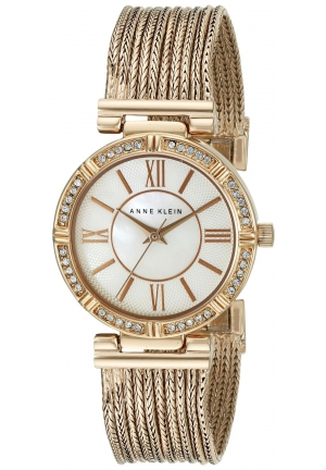 Anne Klein Women's Swarovski Crystal Accented Rose Gold-Tone Chain Bracelet Watch