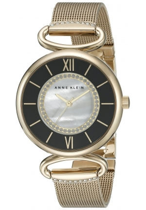 Anne Klein Women's Glitter-Accented Watch With Gold-Tone Mesh Bracelet