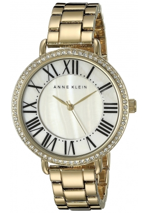 Anne Klein Women's Swarovski Crystal-Accented Gold-Tone Bracelet Watch